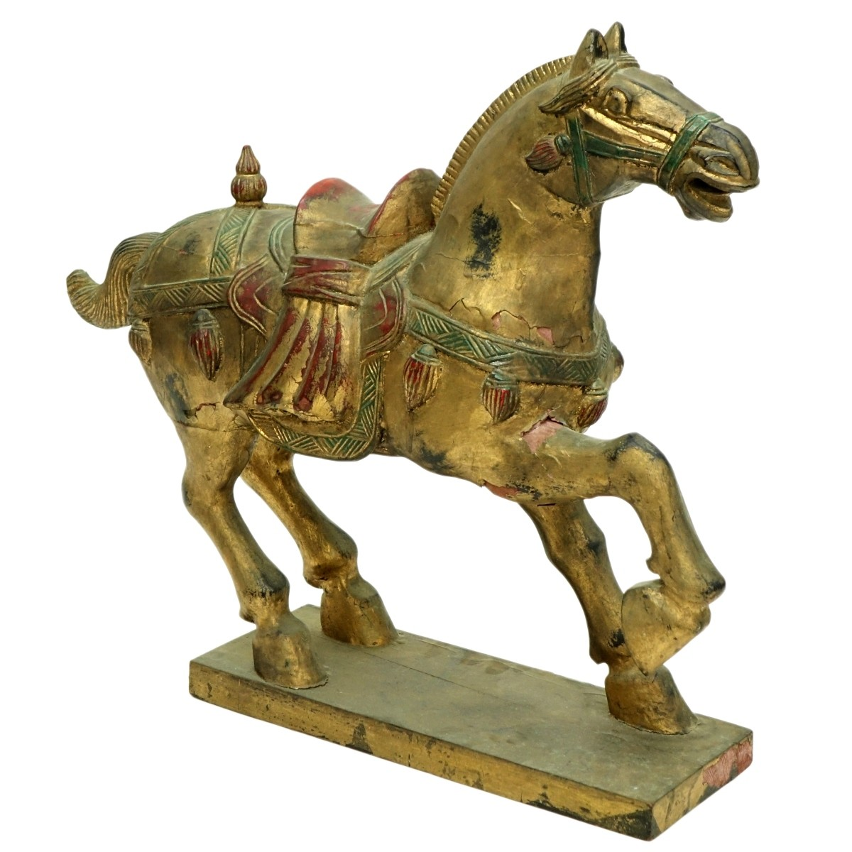 Large Chinese Carved Giltwood Tang Style Horse