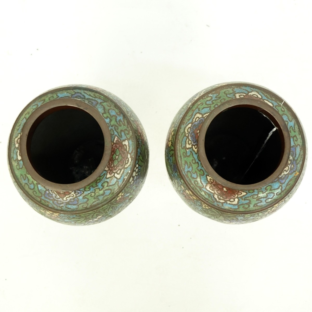 Pair of Japanese Bronze Champleve Enamel Vases
