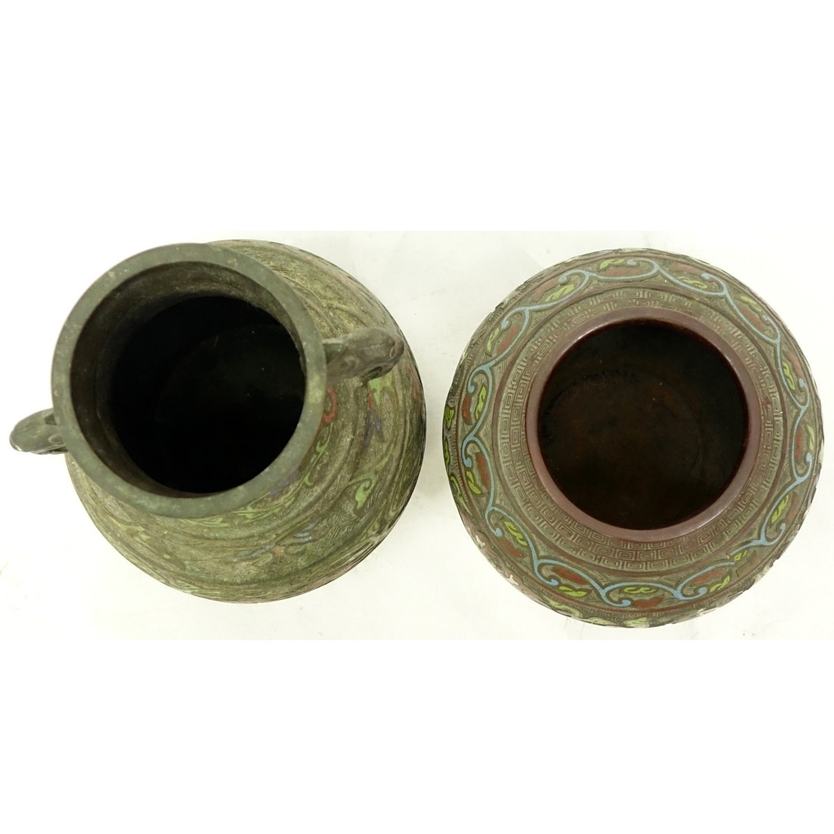 Two (2) Antique Japanese bronze Champleve Vases