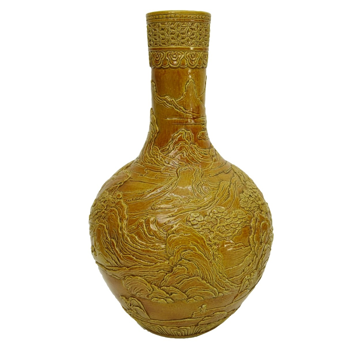 Chinese Yellow Glaze High Relief Porcelain Vase