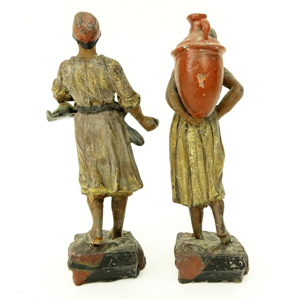 Pair of French Polychrome Spelter Figures