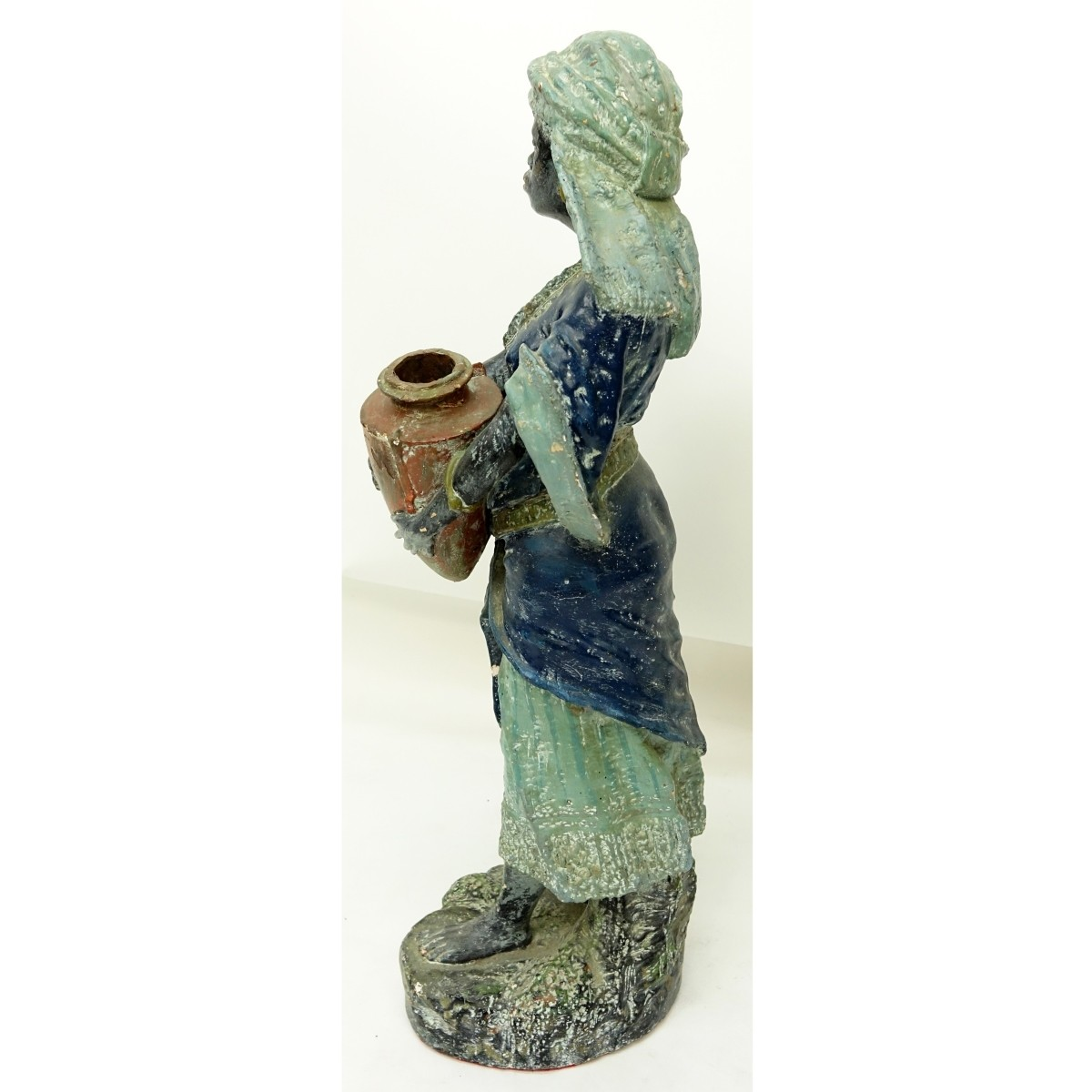 Vintage Polychrome Pottery Nubian Female with Jug