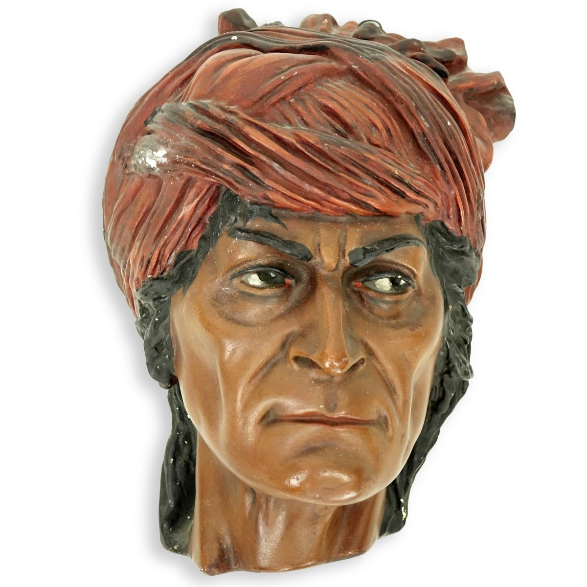 Large Vintage Polychrome Pottery Male Arab Head