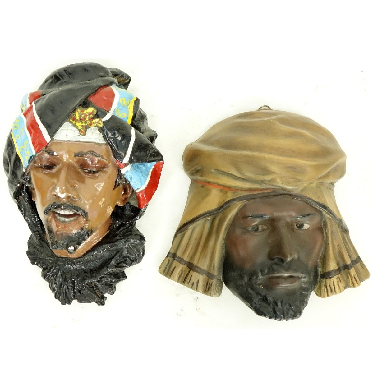 Two (2) Polychrome Arab Figural Heads
