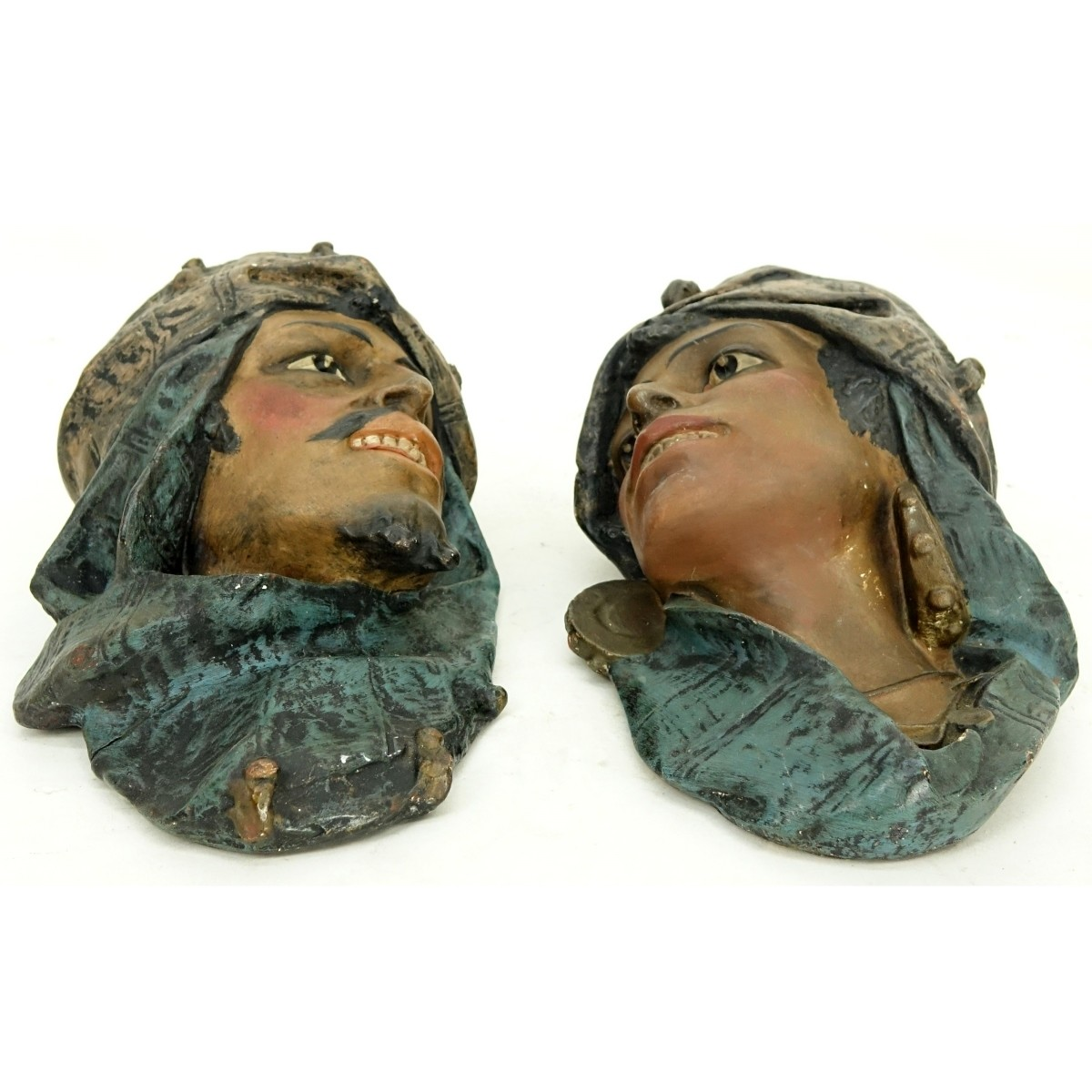 Pair of Vintage Polychrome Pottery Heads