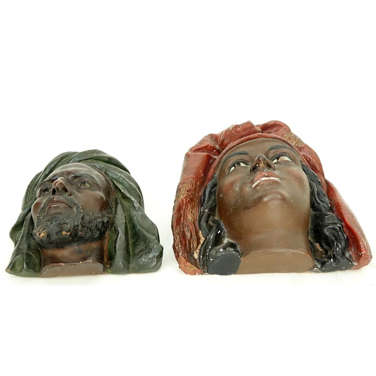 Two Large Vintage Polychrome Pottery Arab Heads
