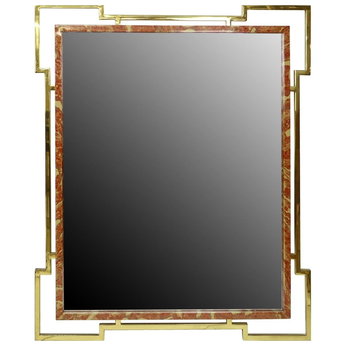 Mid 20th Century Brass and Faux Marble Mirror