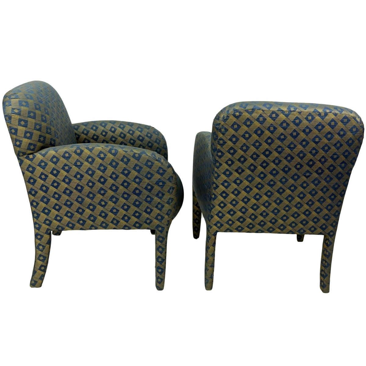 Pair Modern Upholstered Armchairs