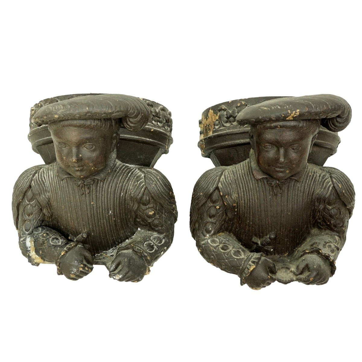 Pair of Carved Wood Tudor Style Figural Corbels