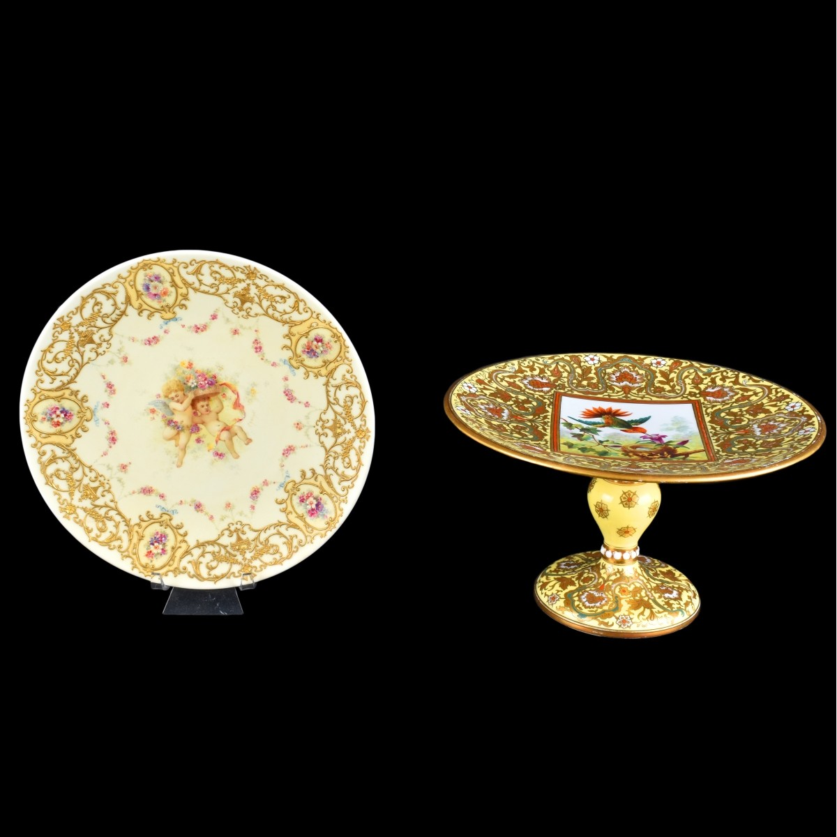 Two Decorative French Porcelain Table Top Items