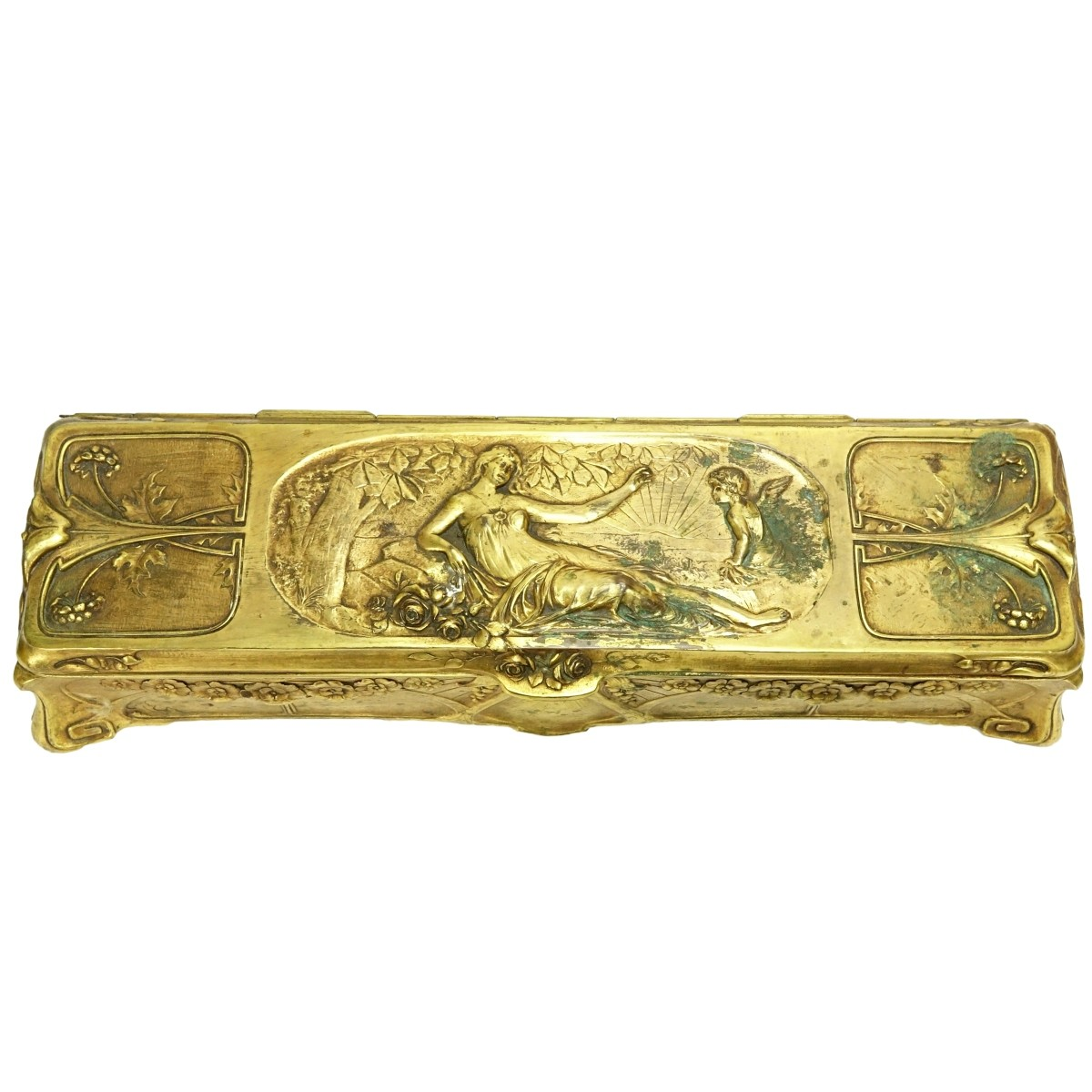 Antique French Art Nouveau Gilt Metal Hinged Box