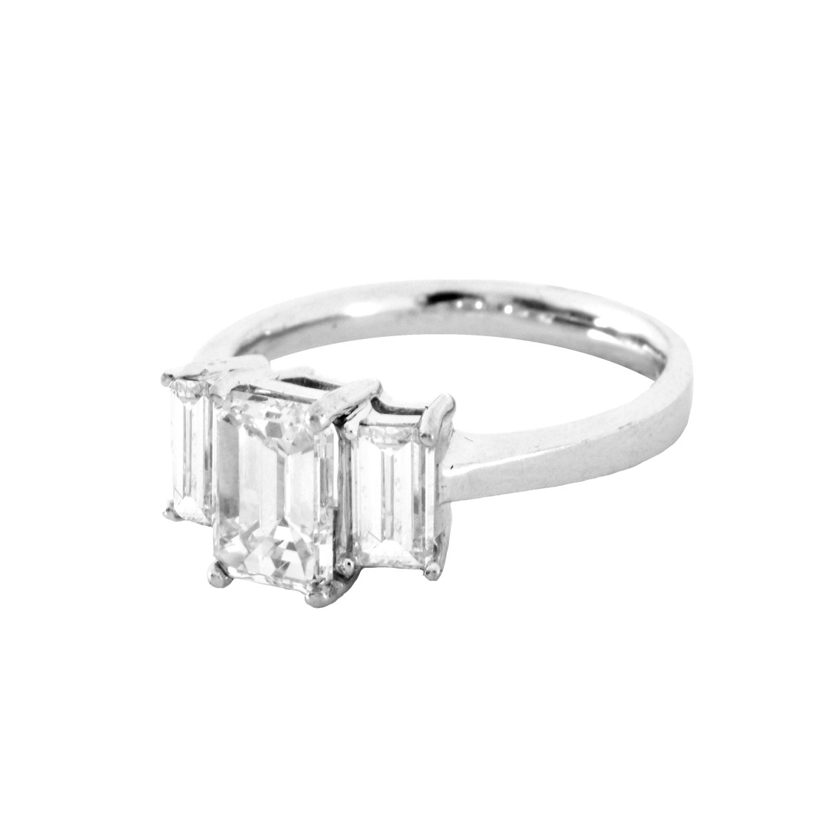 GIA 2.92ct TW Diamond and 18K Gold Ring
