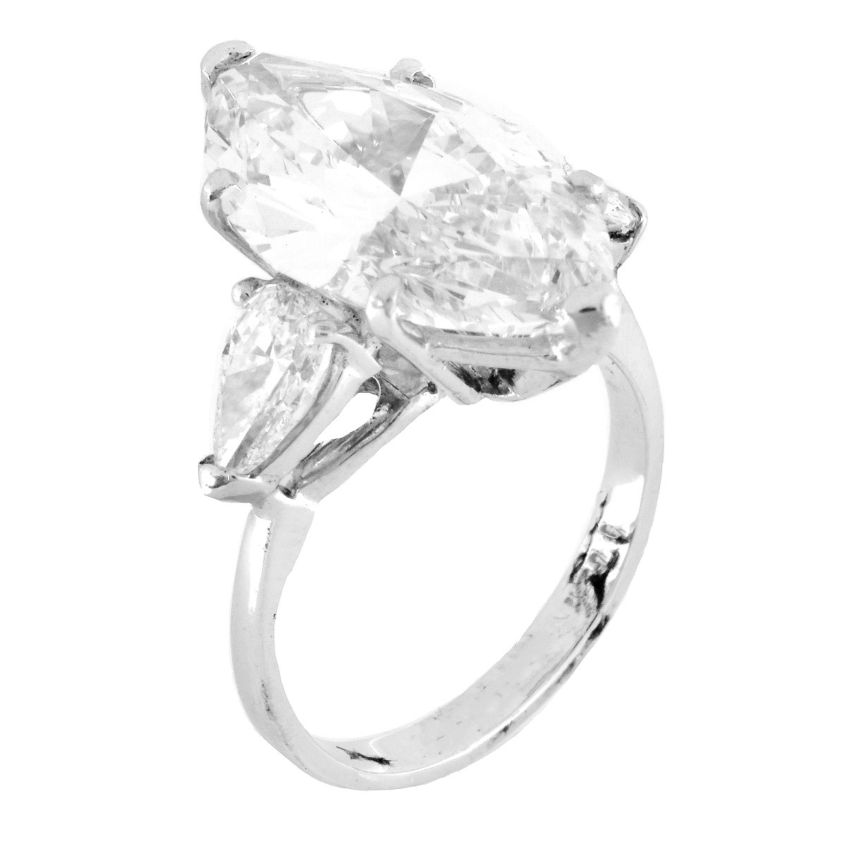 GIA 6.09ct Diamond and Platinum Ring
