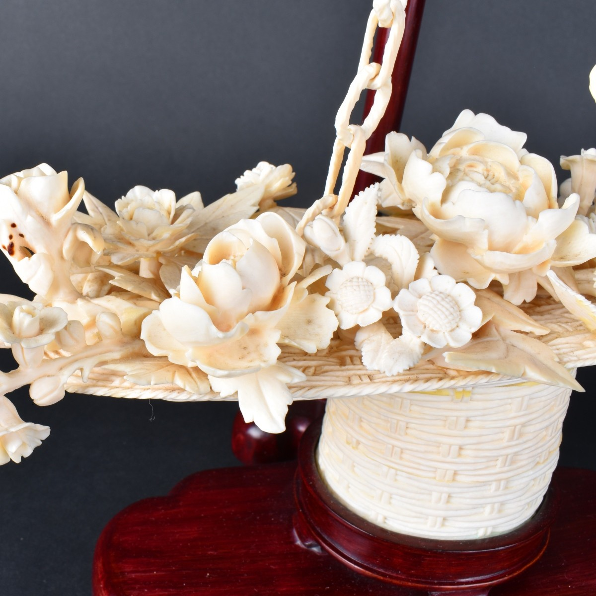 Chinese Carved Ivory Flower Basket