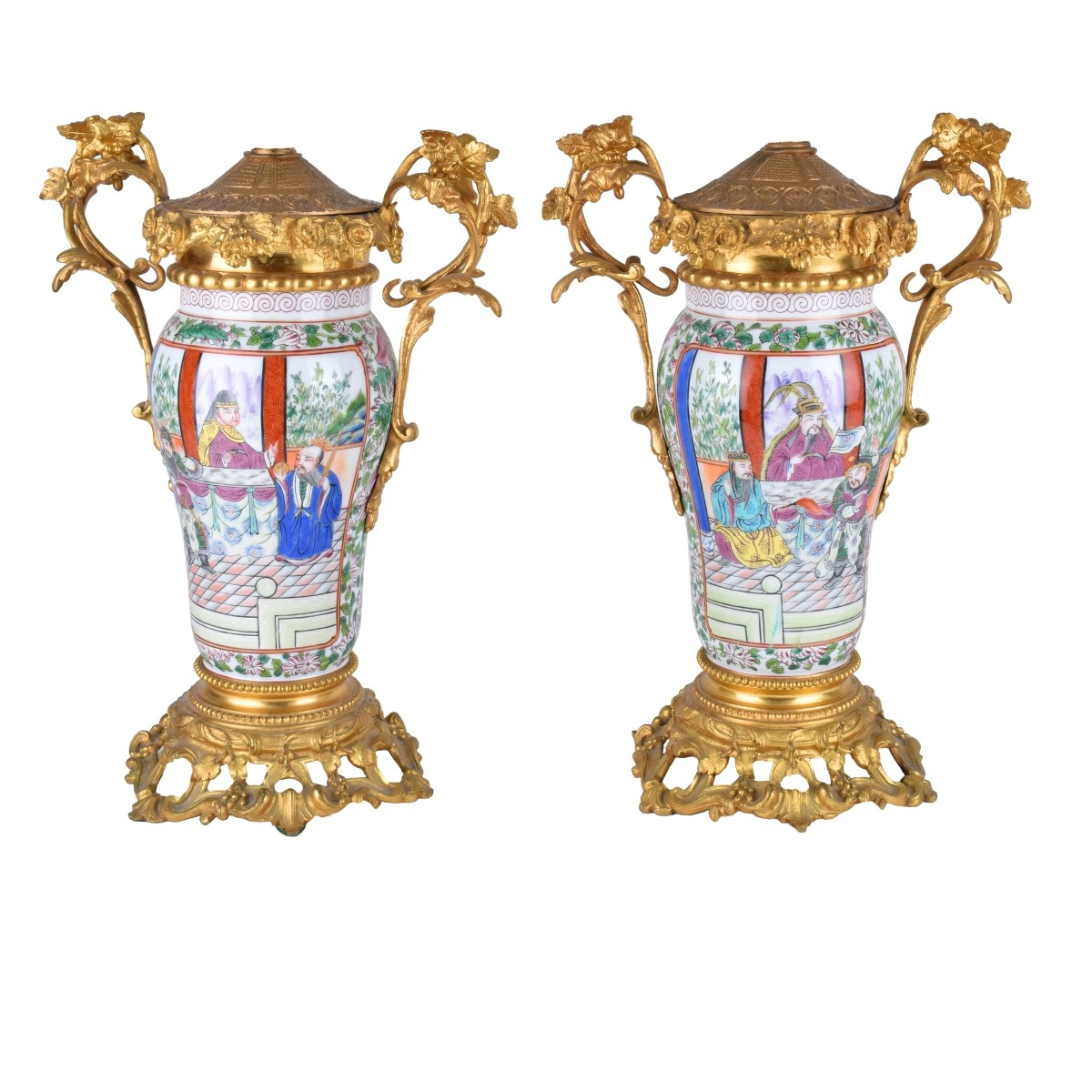 A Pair of Chinese Export Porcelain Vases as Lamps