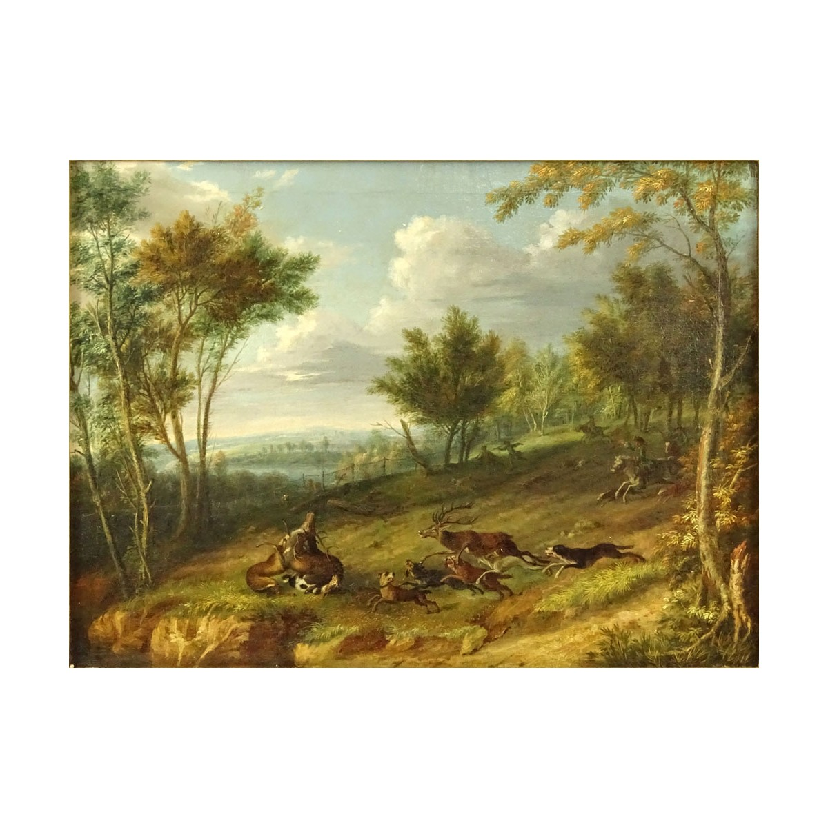 Friedrich Wilhelm Hirt, German (1721-1772) Oil on Canvas, Stag Hunt. Unsigned. Very good conserved