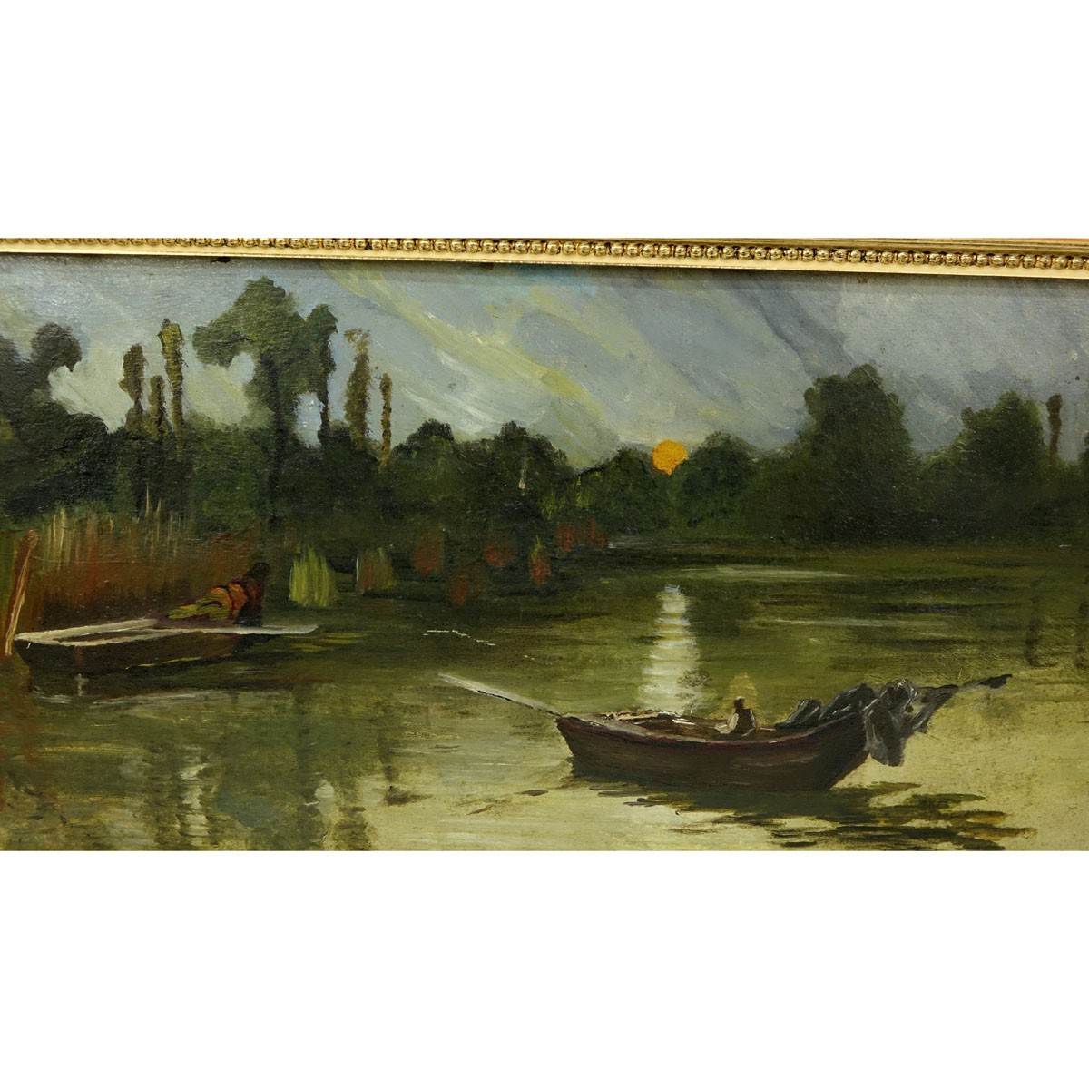 19/20th Century Egyptian School Oil on Board, Paddle Boat in Open Water, Unsigned. Some spotting, s