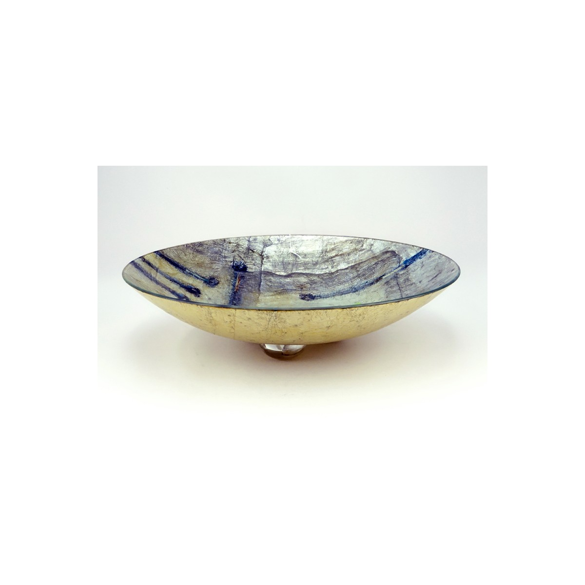 Very Large Contemporary Glass Decoupage Footed Center Bowl. Unsigned. Good condition. Measures 6-1/