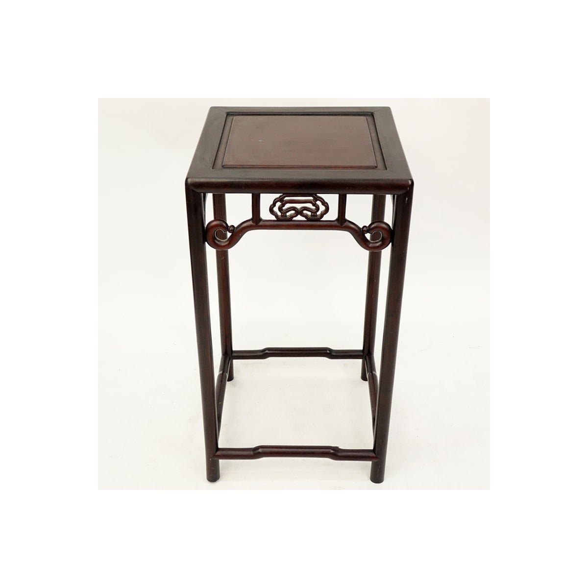 Modern Chinese Carved Hard Wood Pedestal Table. Unsigned. Wear, rubbing one decoration on apron wit