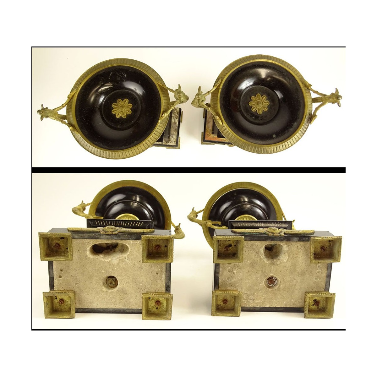 Egyptian Revival Two (2) Piece Bronze, Marble and Onyx Garniture Set. Figural motif with etched mot