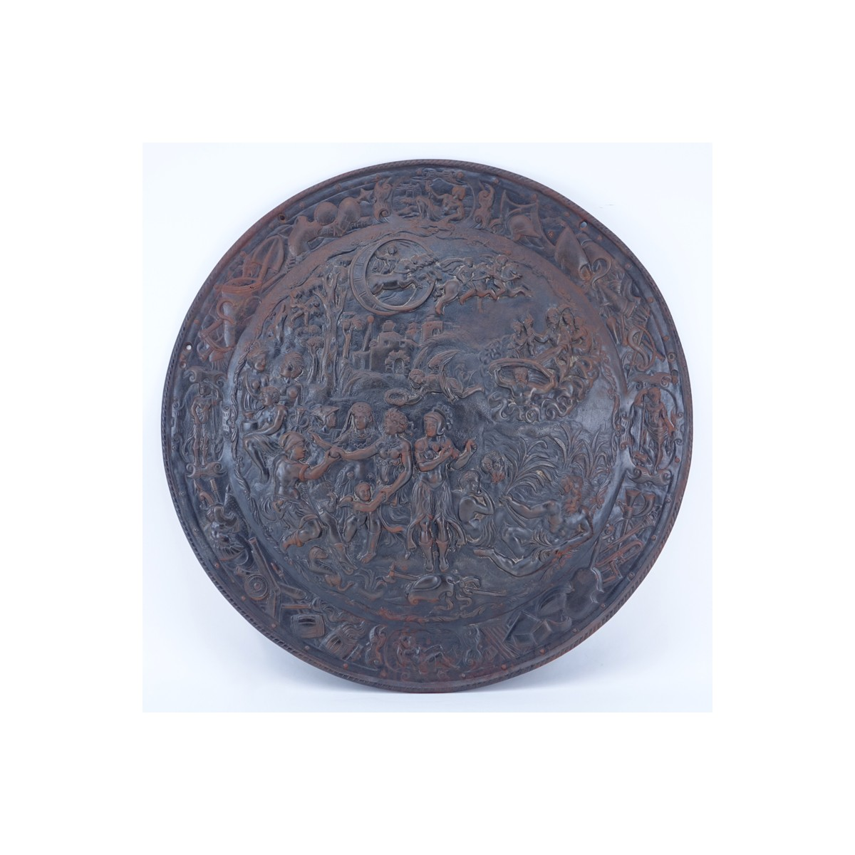 Large Bronze Renaissance Style High Relief Wall Hanging Plaque. Depicts a scene with several figure