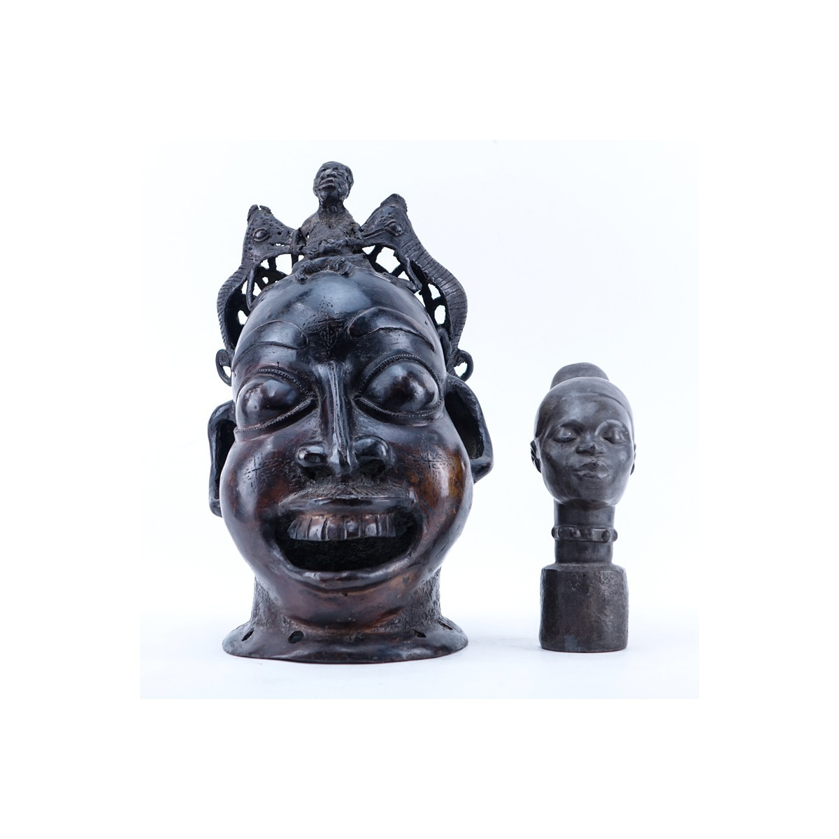 Group of Two (2): African Bronze Sculpture and a Stoneware Sculpture, Each 20th C. Heads of Benin.
