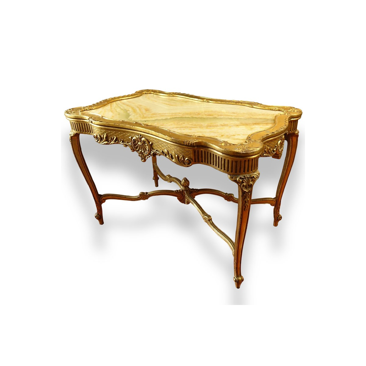 Early 20th Century Carved and Gilt Wood Center Table with Onyx Top. Decorated with carved scroll mo