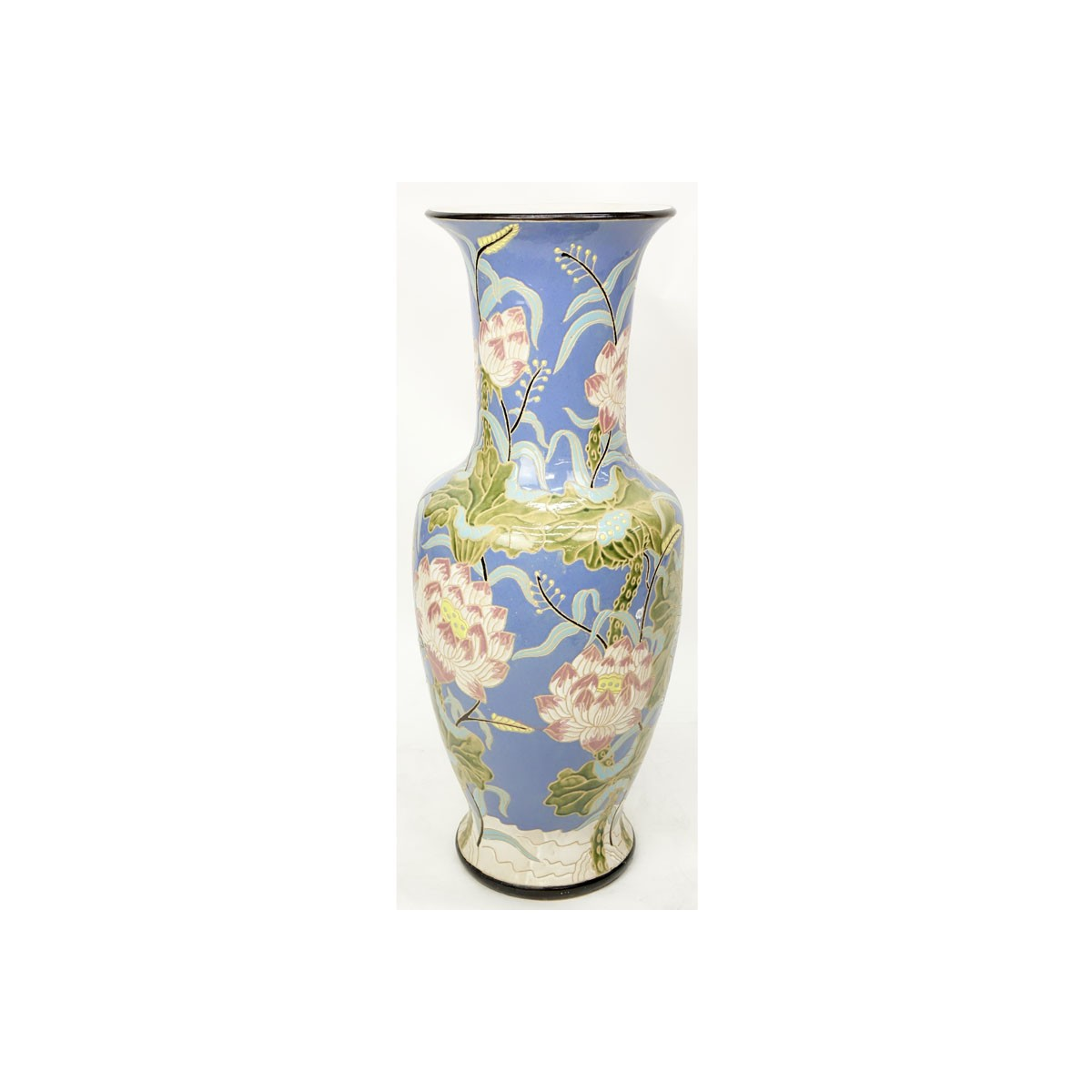 Monumental Majolica Pottery Vase. Features Asian inspired lotus flower motif on blue ground. Unsign