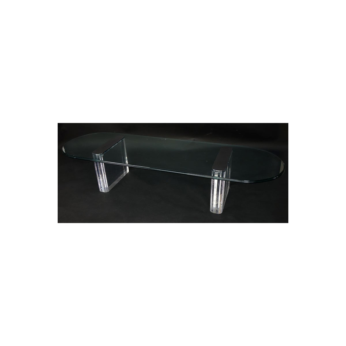 Vintage Lucite, Chrome and Glass Coffee Table Attributed to Pace. Good condition. Measures 15-1/4""