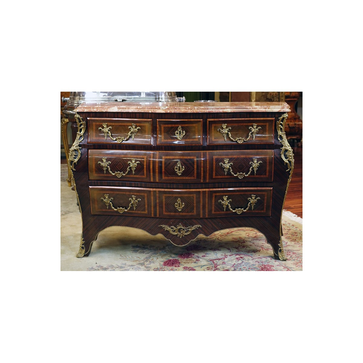 Mid 20th Century Regence Style Gilt Bronze Mounted Kingwood Marquetry Inlaid Marble Top Commode en