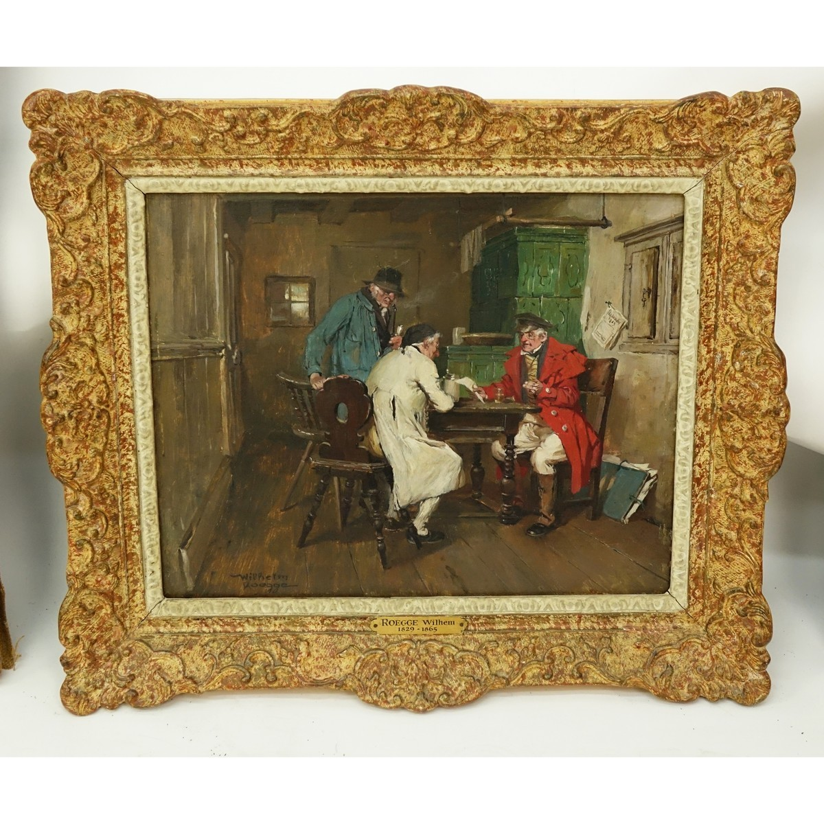 Wilhelm Roegge I, German  (1829 - 1908) Oil on Board, Interior Scene with Figures, Signed Lower Lef