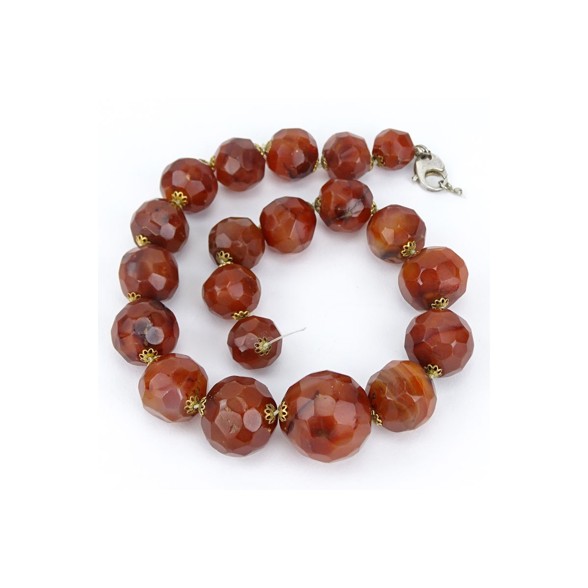 Vintage Syrian Graduated Faceted Red Agate Bead Necklace. Unsigned. Needs small repair to clasp. Go