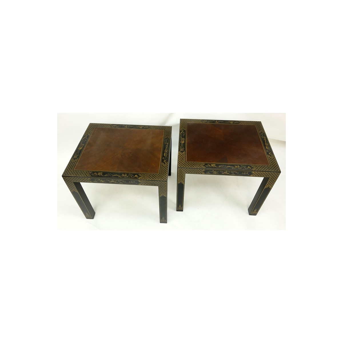 #6S .. Pair of Drexel Etcetera Chinoiserie Lacquered End Tables. Stamped and Drexel Heritage Furnis