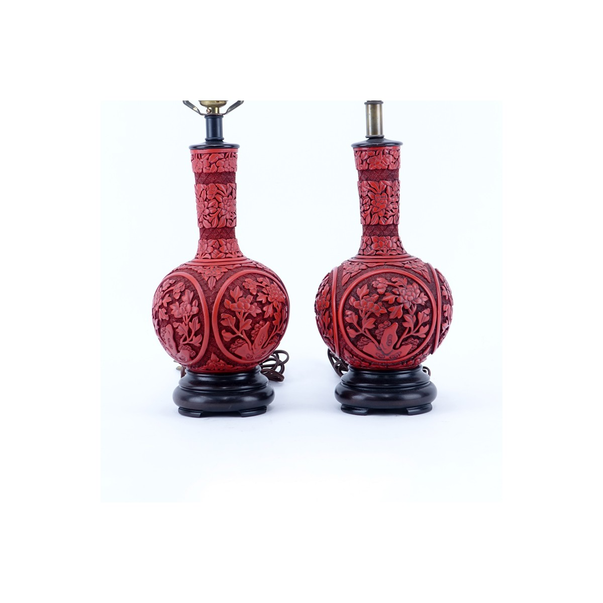 "Pair of Chinese Cinnabar Style Vases Mounted as Lamps. Good condition. Overall measures 21-1/2"" H,"