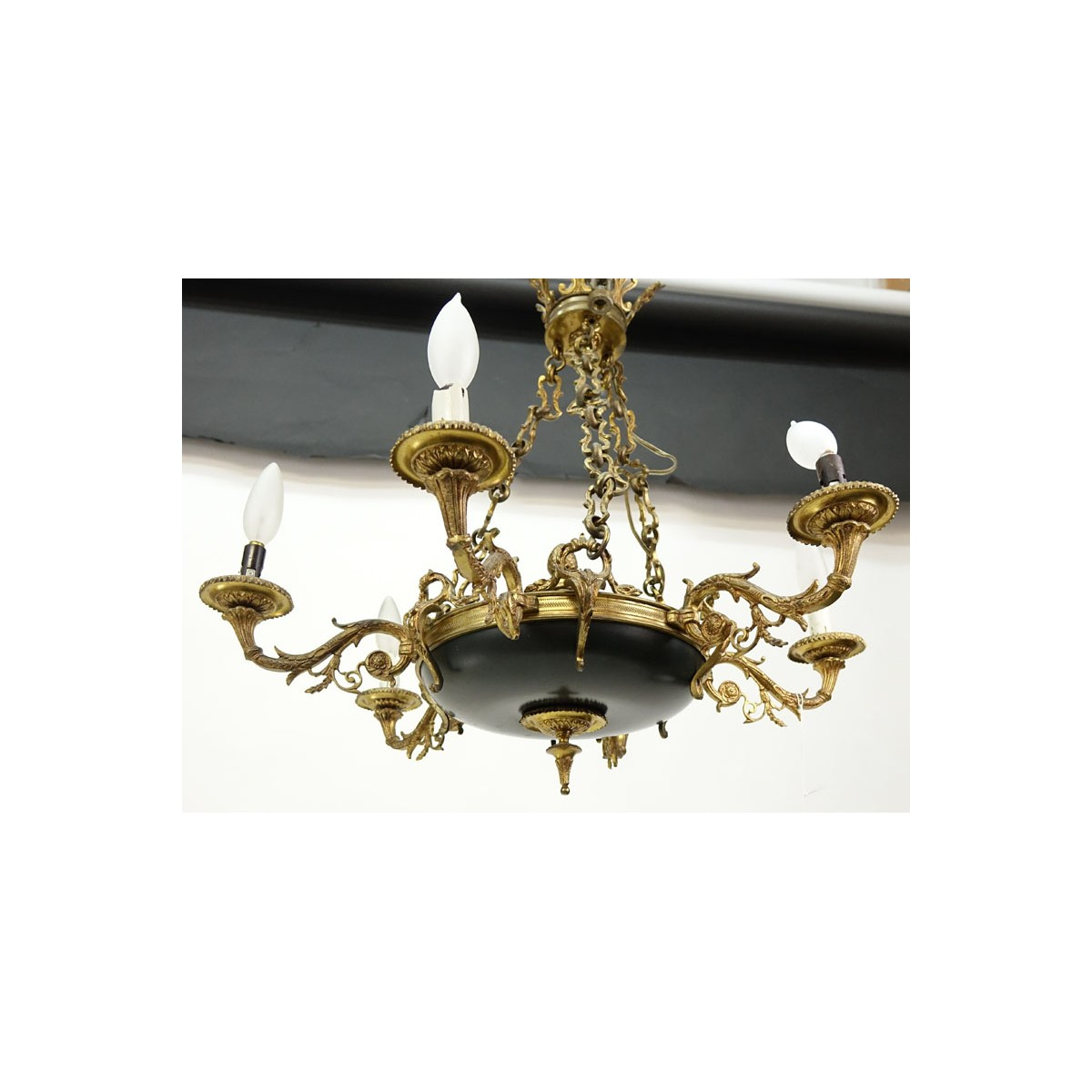 19/20th Century Empire Style Six-Light Gilt Brass and Tole Chandelier.  Rubbing to gilt, losses to