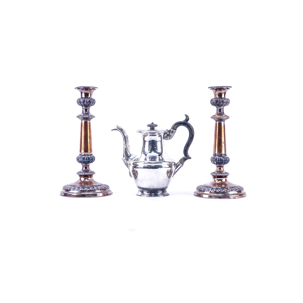 Grouping of Three (3): Pair of Silverplate Candlesticks, James Dixon & Sons Silverplate Teapot. Can