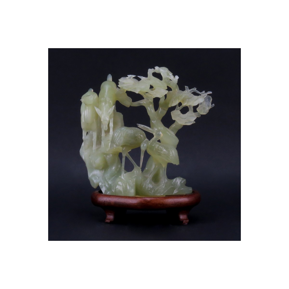 20th Century Chinese Carved Serpentine Bird Group on Wood Stand. Unsigned. Losses. Please examine c