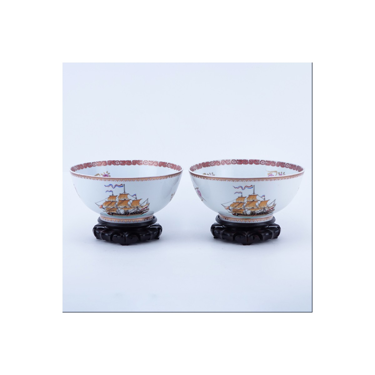 Pair 19/20th Century Chinese Export Hand Painted Porcelain Bowls On Stands. Depicting Western saili