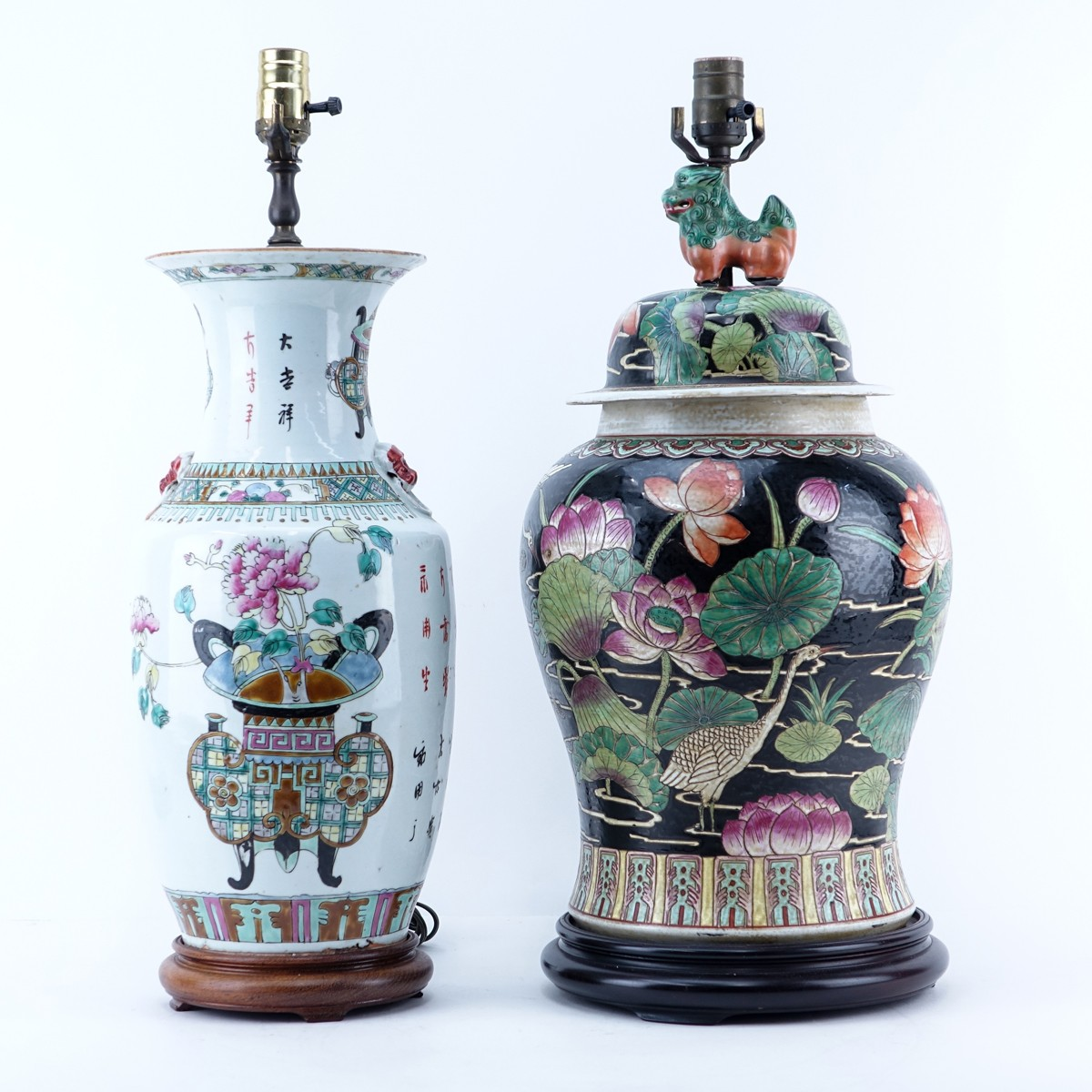 Grouping of Two (2): Chinese Famille Rose Vases Mounted as Lamps, Chinese Famille Noir Ginger Jar M