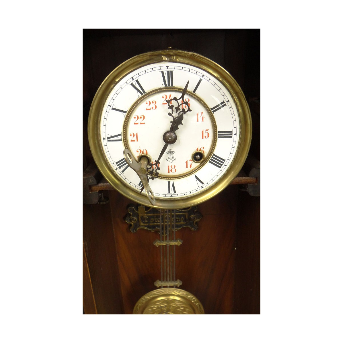 Antique Gustav Becker Regulator Wall Clock. Signed Porcelain Dial, in a Carved Figural Case with Pe