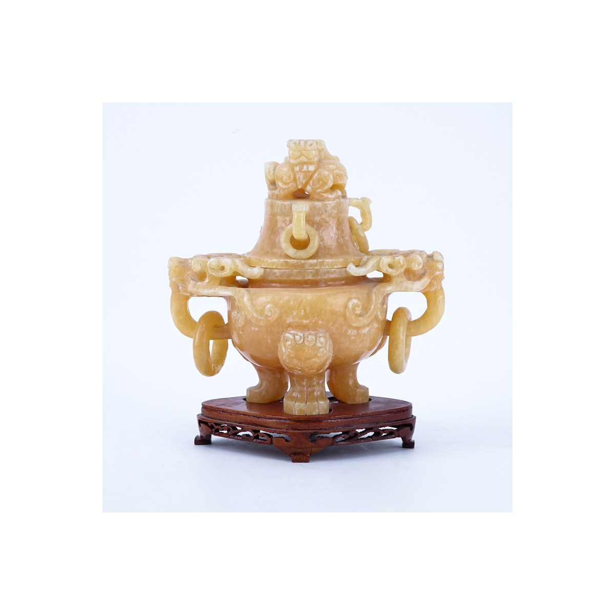 Chinese Carved Hardstone Covered Figural Urn On Stand. Unmarked. One ring broken but included. Meas