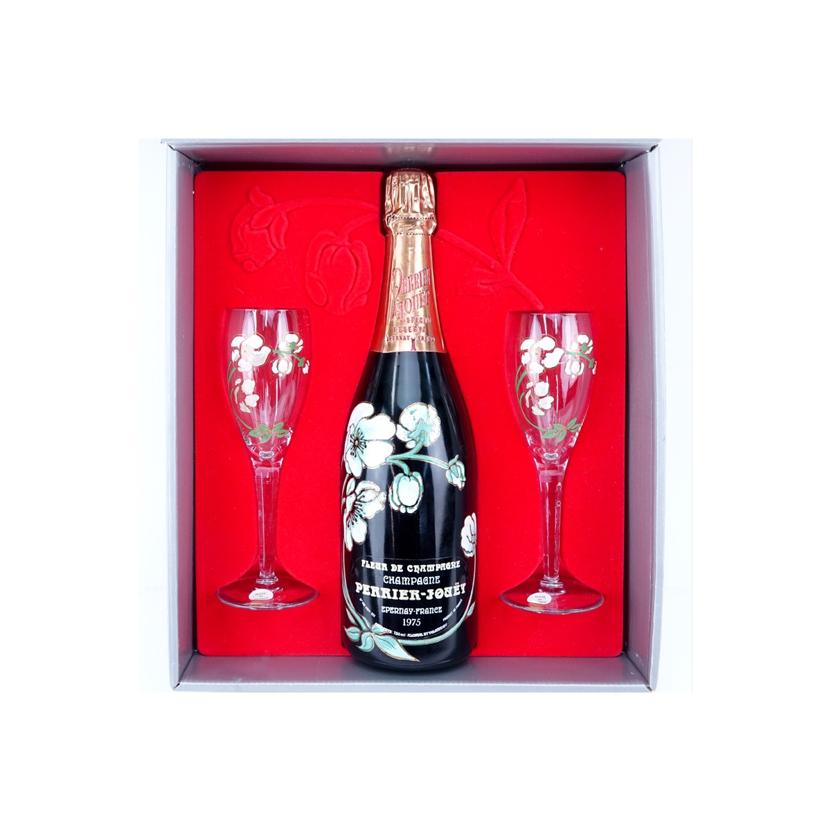 Vintage 1975 Perrier-Jouet Fleur de Champagne Bottle in Presentation Box. Includes two crystal cham