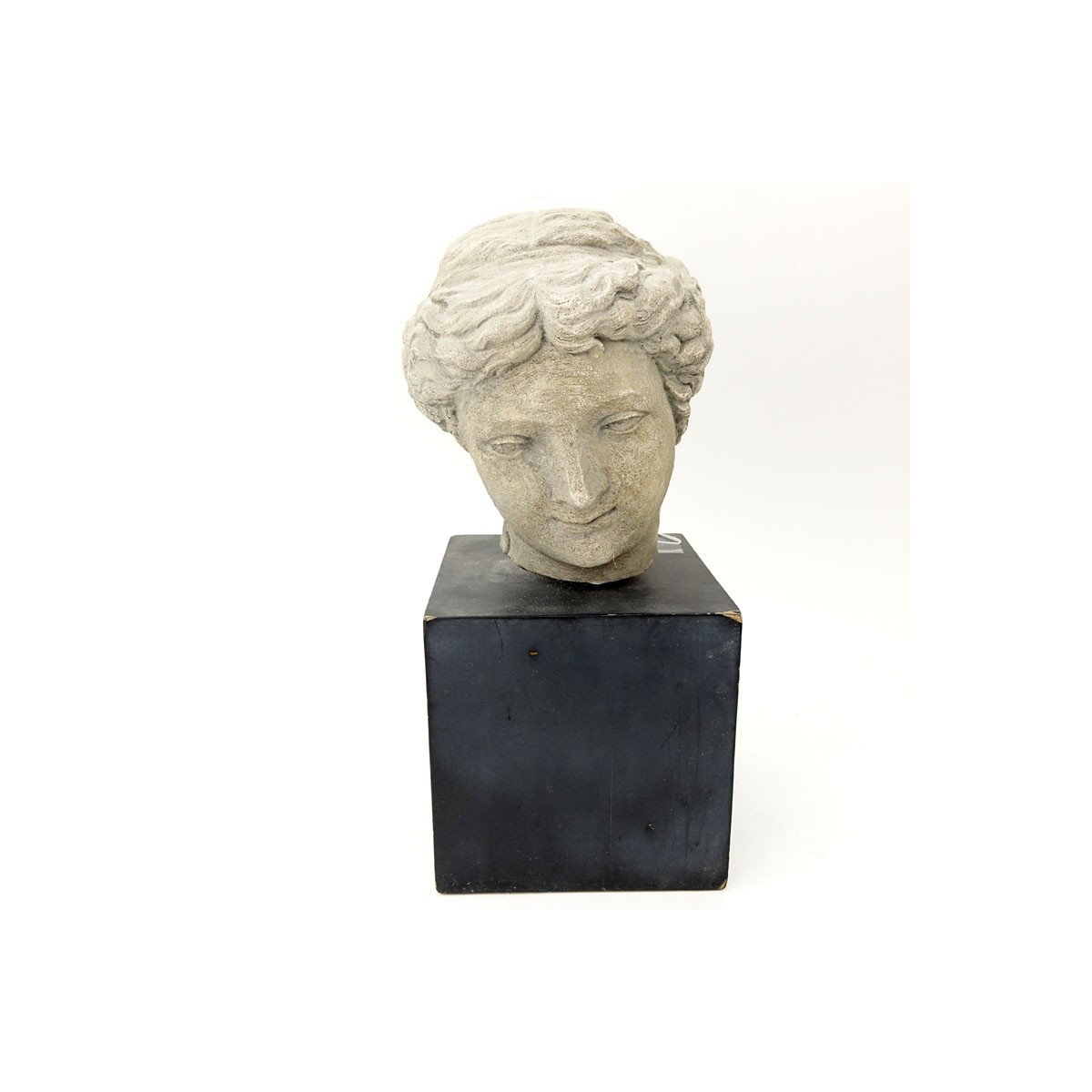 "Modern Faux Stone ""Greek Bust"" on Wood Stand. Unsigned. Wear, rubbing. Measures 17"" H including bas"