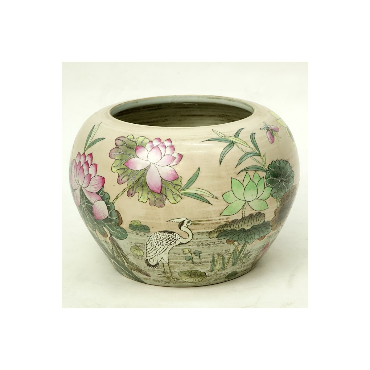 20th Century Chinese  Porcelain Jardinière. Depicts a enamel floral painted pond scene with water l