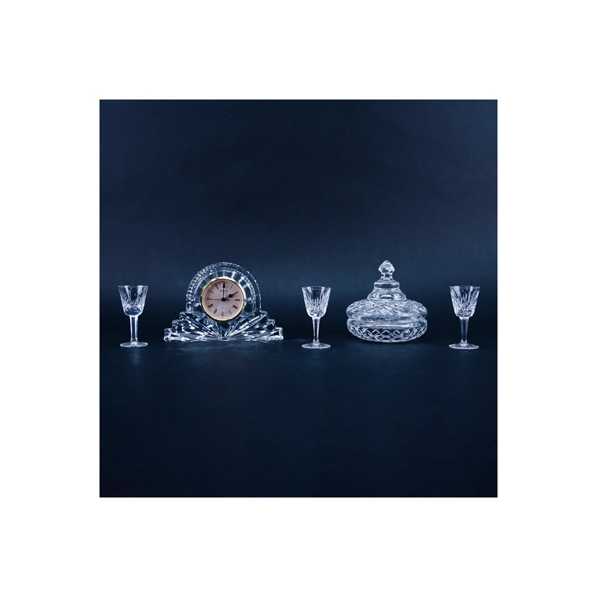 Collection of Five (5) Waterford Crystal Tableware. Includes: clock, covered dish, and three cordia