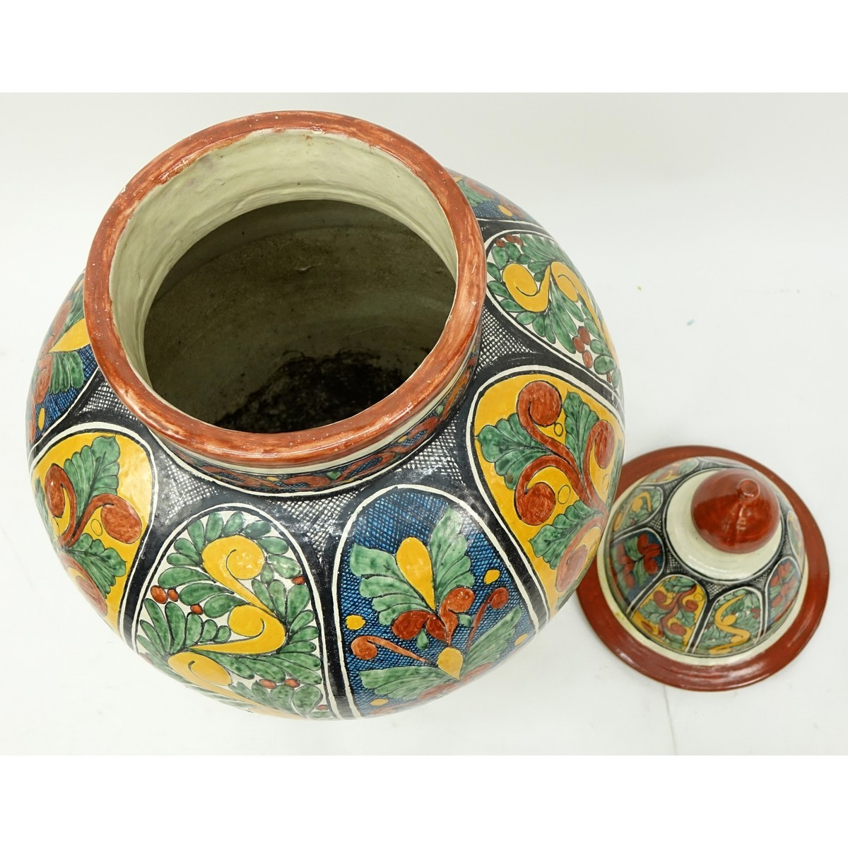 Large Italian Majolica Pottery Covered Urn. Unsigned. Chips at base, overall good condition. Measur