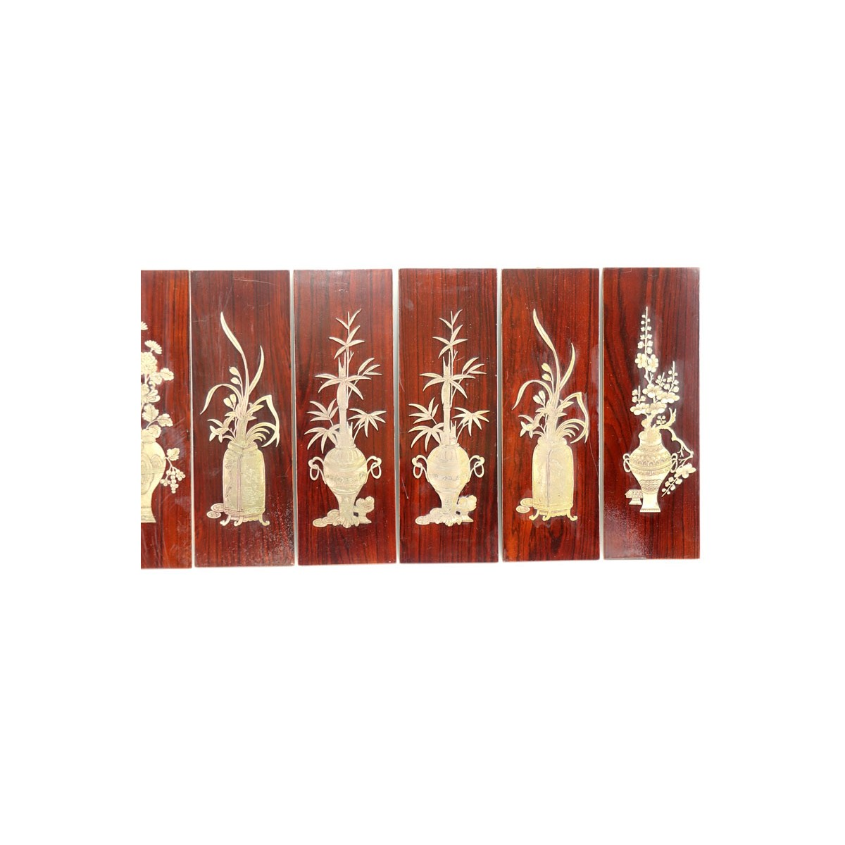 Set of Six (6) Vintage Asian Decorative Wood Panels With Inset Brass Flowers in urns motifs. Unmark