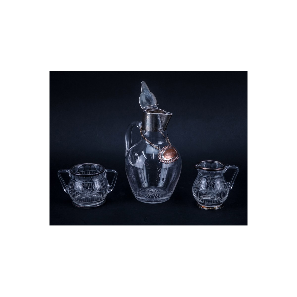 Grouping of Six (6) Vintage Tableware. Includes: Two crystal decanters/cruet bottles, glass pitcher