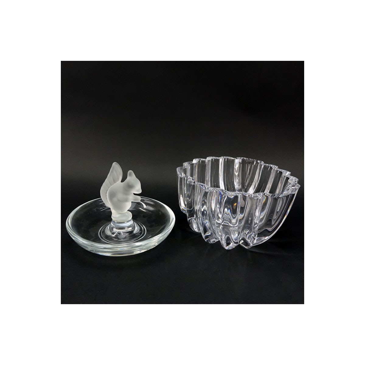Grouping of Two (2): Orrefors Crystal Bowl, Sevres Crystal and Frosted Crystal Squirrel Candy Dish.