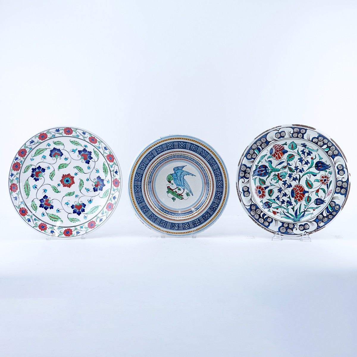 Grouping of Three (3) Vintage Faience Pottery Chargers. Two are signed, originating from Turkey and